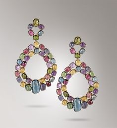 Marco Bicego 18K yellow gold earrings, hand engraved with the time-honored Bulino technique.  These jewels mount cushion cut irregular faceted London Topaz, African Amethyst, Yellow Quartz, Rhodolite, Iolite, Pink Tourmaline, Green Tourmaline stone.