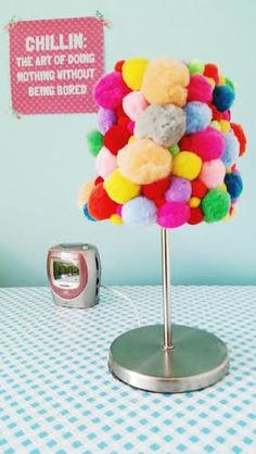#diy pompon lamp