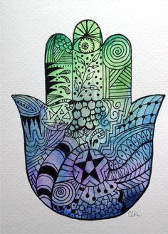 Zentangle Watercolor art card,  Hamsa Hand  $4.75, via Etsy.