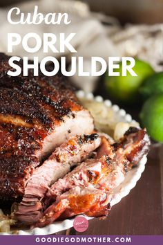 A traditional Christmas meal in Cuban households, this Cuban pork shoulder recipe is perfect for smaller gatherings! Of course, it makes a delicious meal any time of year. Cuban Recipes, Entree Recipes, Pork Recipes, Cooking Recipes, Smoked Pork Shoulder, Pork Shoulder Recipes, Chicken And Beef Recipe, Cuban Pork, Cooking
