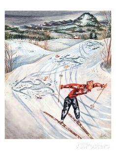 """""""Snow Skiier After the Falls,"""" January 25, 1947 Giclee-trykk av Constantin Alajalov hos AllPosters.no"""