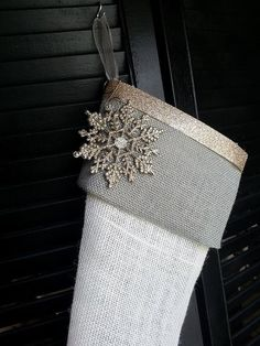 Elegant grey burlap Christmas stockings by RedeemedCustomDesign Burlap Christmas Stockings, Burlap Stockings, Burlap Lace, Country Christmas, Winter Christmas, Christmas Ideas, Christmas Crafts, Christmas Time Is Here, Christmas Wishes