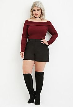 Plus Size Classic Snap-Buttoned Shorts | Forever 21   PLUS - 2000164493  #curvy #plussize