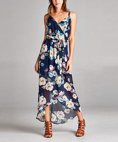 Another great find on #zulily! Navy Floral Surplice Maxi Dress #zulilyfinds