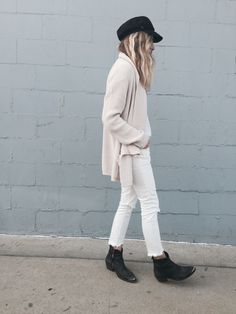 casual neutral look #style #fashion #whitejeans #boots #hat