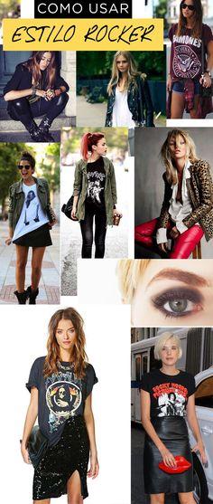 como usar o estilo rock & roll nos looks. 10 detalhes para colocar atitude nas roupas. tachas, jaqueta de couro, cabelo colorido, correntes e muito mais....