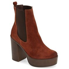"Topshop 'Holly '70s' Chunky Heel Ankle Boot, 4"" heel (€120) ❤ liked on Polyvore featuring shoes, boots, ankle booties, ankle boots, tan, chelsea boots, platform boots, platform bootie and short boots"