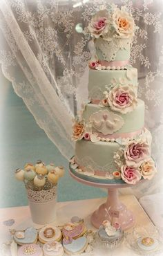 Duck egg blue 4 tier wedding cake