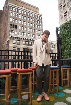 Alexandre Cunha | Glass Men | 2018 | Cover | Editorial   jacket: brunello cucinelli   trouser : brunello ccuicnelli  shoes : bottega veneta #AlexandreCunha #SpringStyle #ShopStyle #OOTD #brunelocucinelli #bottegaveneta