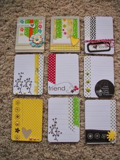 Project Life/journaling cards made from scraps. Project Life Scrapbook, Project Life Album, Project Life Layouts, Project Life Cards, Atc Cards, Journal Cards, Diy Journaling Cards, Envelopes, Project Life Karten
