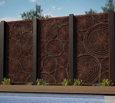 """Back to Screens  The firewood stack wall has always been a design feature we have enjoyed seeing both indoors and out. Chosen by Mark Browning to feature as a canopy in his display at MIFGS """"The Patriarchs Garden"""" awarded Best in Show and also chosen by Phillip Johnson to feature in"""