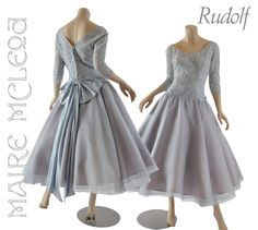 Rudolf 1950's Organza & Lace Cocktail Party Dress - Dusty Blue * S / from mairemcleod on Ruby Lane