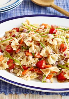 Fresh Veggie Pasta Salad – Carrots, grape tomatoes, and snow peas star in this Fresh Veggie Pasta Salad recipe, but the zesty dressing and fixing make a great supporting cast.