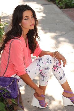 Love the floral skinnies and those purple and white wedges are killer and so unique!