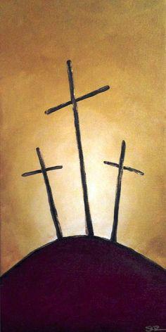 3 cross on a hill