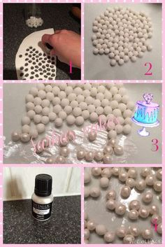 How to make EVEN AND UNIFORM home made gum paste pearls- love (cake frosting tips desserts) Cake Decorating Techniques, Cake Decorating Tutorials, Cookie Decorating, Fondant Toppers, Fondant Cakes, Cupcake Cakes, Gum Paste Flowers, Fondant Decorations, Fondant Tutorial