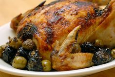 Best roast chicken dish ever, not only for the taste, but the easiness.  I buy a whole chicken that is already cut-up and then just spread the prune mixture over it in a pyrex dish.  This way, you get a better distribution of the yumminess throughout the chicken meat.
