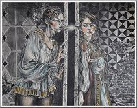 """""""Pyramus and Thisbe"""" by Nick Pontikis (1995). This image depicts Pyramus and Thisbe talking to each other through the whole in the wall. They're love is forbidden so they end in an awful tragedy like a lot of forbidden love stories."""