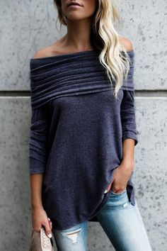 Women Ruched Long Sleeve T Shirt Solid Sexy Slash Neck Tops Casual Loose Off Shoulder Tshirt Femme Mode Outfits, Fall Outfits, Casual Outfits, Fashion Outfits, Womens Fashion, Fashion Trends, Latest Fashion, Daily Fashion, Fashion Ideas