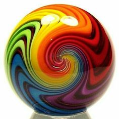gorgeous glass marbles at Indigenous Handcrafted Gallery (Cincinnati, Ohio) ~ this beauty is by artisan Eddie Seese. Glass Marbles, Glass Beads, All The Colors, Vibrant Colors, Colorful, Taste The Rainbow, Rainbow Swirl, Rainbow Glass, Rainbow Roses