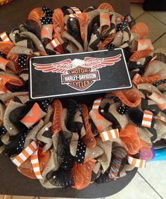 Harley Davidson orange and black burlap wreath