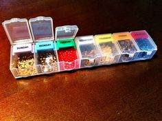 Separating beads by color in little bins is neater than storing them in plastic baggies. They will be right at your fingertips as soon as inspiration hits. See more at Dana Meyer Designs »  - GoodHousekeeping.com