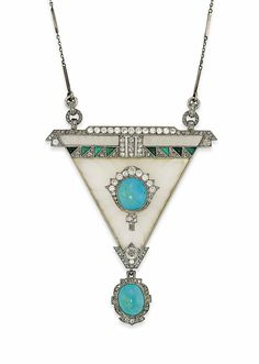 AN ART DECO ROCK CRYSTAL, TURQUOISE AND DIAMOND PENDANT -  The carved rock crystal triangular panel set to the centre with a turquoise cabochon and old-cut diamond cluster, with further buff top turquoise and rose-cut diamond geometric band detail, suspending a later turquoise and diamond drop and associated fine bar and link chain, circa 1925