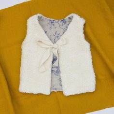 Baby Fur Vest For Girls, Organic Cotton Plush Fur And Floral Linen / Cotton Lining, READY TO SHIP