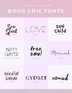 9 FREE BOHO CHIC FONTS ♥ Mindful Pixels