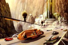 Retro-Futuristic Art by Jim Burns, future transportation