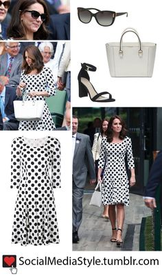 Buy Kate Middleton's Sunglasses, Polka Dot Dress, White Purse, and Black Sandals from Wimbledon, here!