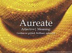 Aureate adjective | Golden or gilded; Brilliant, splendid  Requested by: Anonymous!