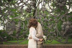 Flower ornament and tender kisses. Bride & groom. Together forever
