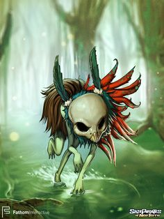 Scoutie wanders the Forgotten Isle. Is he a friend or a foe?  #SkyPirates #Art #Illustration #CamilladErrico #gamedev #gamedevelopment #socialgames #game #fathom #skull #swamp #feathers