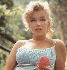 Marilyn Monroe in baby blue white polka dot summer tank
