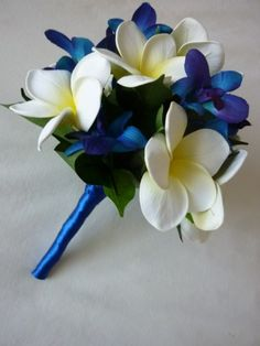 frangipani and blue orchids