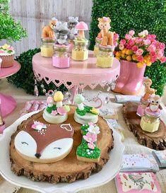 Woodland for little Oli 🍃🍁🐿🦊🌸 … Fairy Birthday, Baby Girl Birthday, First Birthday Parties, First Birthdays, Enchanted Forest Party, Woodland Party, Baby Shower Decorations, Girly, Tattoo Man