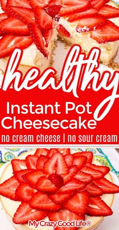 Instant Pot cheesecake is quick, easy, and delicious. This healthy cheesecake recipe has no sour cream or cream cheese and is lighter than the original. Strawberries on top make this cheesecake perfectly sweet. 21 Day Fix Cheesecake Recipe Healthy Cheesecake Recipes, Healthy Dessert Recipes, Instapot Cheesecake, Ww Recipes, Recipies, Weight Watchers Cheesecake, Weight Watchers Desserts, 21 Day Fix Desserts, Ww Desserts