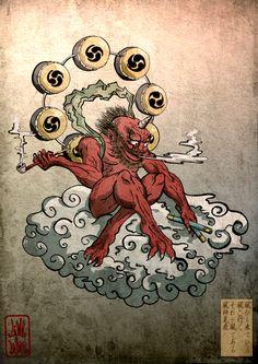 "Raijin / 雷神 from ""Matsuri"" series by gosh and seiko Japanese Yokai, Japanese Mythology, Japanese Folklore, Oriental Tattoo, Japanese Artwork, Japanese Prints, Japanese Painting, Japanese Culture, Oni Tattoo"