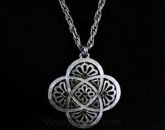 Architectural Style Pendant & Chain - Trifari Necklace - Silvertone Metal - 1970s - Designer 70s - Art Nouveau Meets Modern - 42641