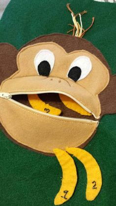Resultado de imagem para monkey with banana quiet book page