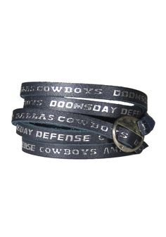 Dallas Cowboys Ladies Leather Wrap Bracelet - Navy Blue