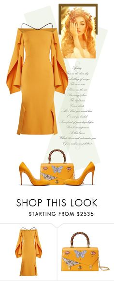 """""""Dress - ROLAND MOURET"""" by fashionmonkey1 ❤ liked on Polyvore featuring Roland Mouret, Gucci, Christian Louboutin and RolandMouret"""