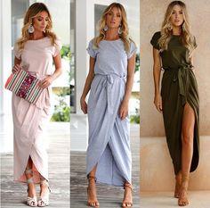 bf828e4e2 US $10.35 26% OFF|JOYINPARTY High Slit Maxi Dress With Belt 2017 Summer  Style Street Fashion Casual Vestidos Longo Party Elegant Women Long  Dress-in Dresses ...