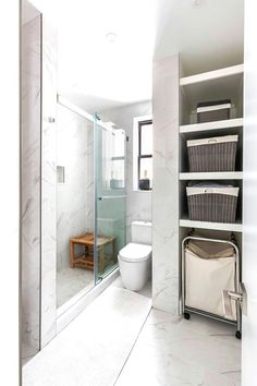 A bathroom transforms from night to day ✨ Borrowing some space from the master bedroom, this renovator was able to add storage, and swap a tub for a walk-in shower 🚿 Closet Door Handles, Small Galley Kitchens, Master Bedroom Closet, Bright Homes, Bathroom Renovations, Bathrooms, Fixer Upper, The Borrowers, House Design