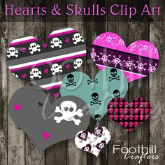 INSTANT DOWNLOAD   12 Hearts and Skulls Clip by FoothillCrafters, $2.99 #foothillcrafters #etsyshop #skullclipart #hearts #clipart #graphicdesign #printable_hearts #labels #gift_tags #valentinesday