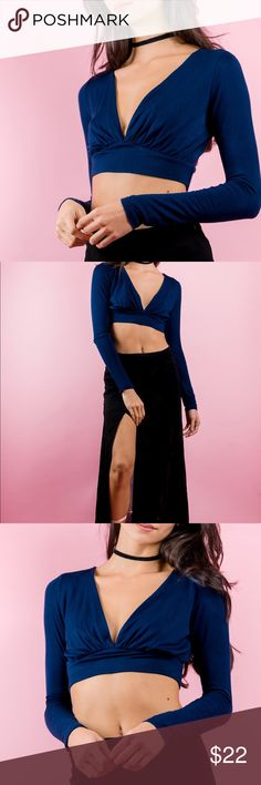 Blue Moon Crop Top This cute top is the perfect addition to your closet. Mix and match with a long floral skirt or skinny jeans.     Product Details  + Unlined + Stretch Material + Fitted at Waist Tops Crop Tops