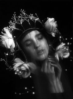 Black and white, crown, flowers and transparency.