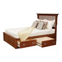 """Lewiston Queen Slat Bed w/ 2 30"""" Drawers per Side 