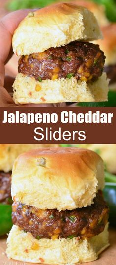These mini cheeseburger sliders are made with lots of jalapeno peppers and cheddar cheese mixed right in and served on sweet jalapeno rolls. Healthy Beef Recipes, Best Appetizer Recipes, Meat Appetizers, Grilling Recipes, Cooking Recipes, Cheeseburger Sliders, Beef Sliders, Sliders Burger, Jalapeno Cheddar